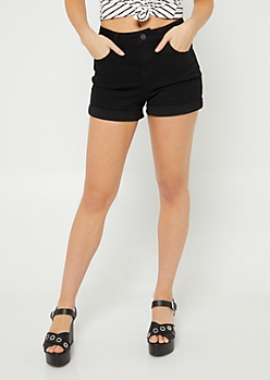 Black Clean Cuff Jean Shorts