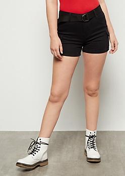 Black Cargo Belted Shorts