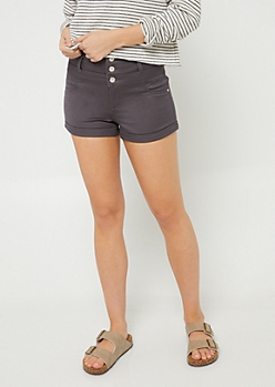 Charcoal Gray Button Front Cuffed Shorts
