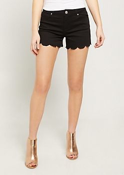 Black Scalloped Hem Shorts