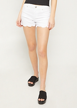 White Scalloped Hem Shorts