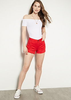Red Distressed High Waisted Jean Shorts