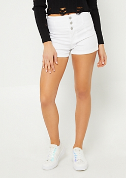White High Waisted Triple Button Shorts