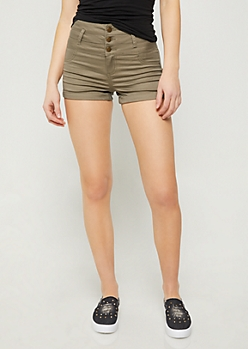 Olive High Waisted Triple Button Shorts