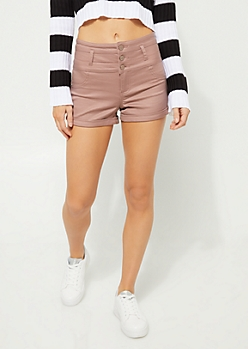 Pink High Waist Tri Button Shorts