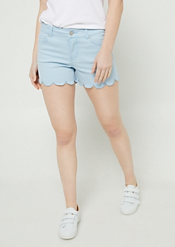 Blue Scalloped Hem Shorties