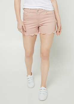 Pink Scalloped Hem Shorties