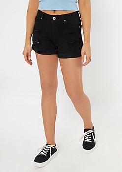 Ultimate Stretch Black Distressed Mom Jean Shorts