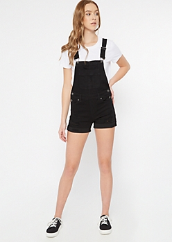Black Cuffed Hem Denim Overalls