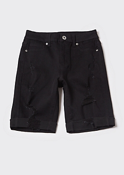 Ultimate Stretch Black Ripped Bermuda Curvy Jean Shorts