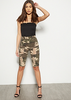 Red Fox Camo Print Destroyed Cutoff Bermuda Shorts