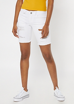 White Destructed Bermuda Jean Shorts