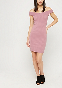 Light Pink Off Shoulder Rib Knit Bodycon Dress