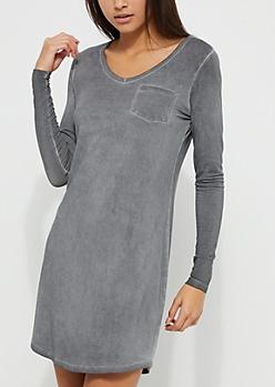 Charcoal Gray Washed Knit T-Shirt Dress