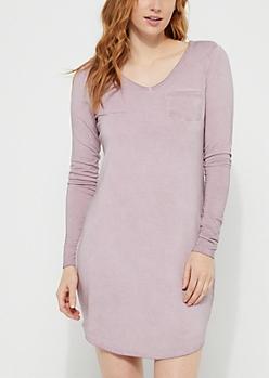 Light Purple Washed Knit T-Shirt Dress
