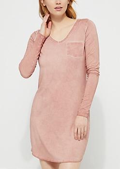 Medium Pink Washed Knit T-Shirt Dress