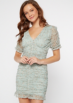 Mint Puff Sleeve Ruched Mesh Mini Dress