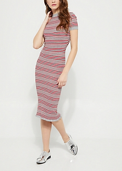 Red Striped Ruffled Sweater Dress