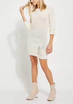 Ivory Distressed Sweater Dress