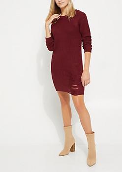 Burgundy Distressed Sweater Dress