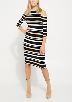 Striped Rib Knit Cold Shoulder Midi Dress