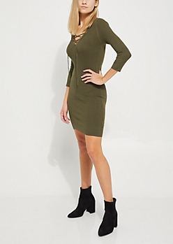 Olive Lace Up Rib Knit Sweater Dress