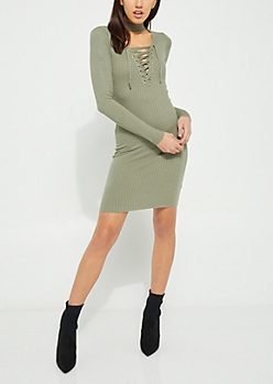 Olive Lace Up Bodycon Midi