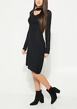 Black Cutout Thermal Knit Dress