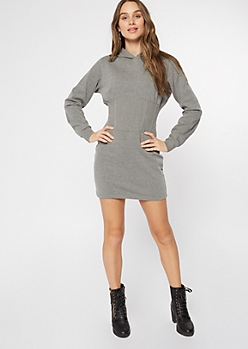 Gray Corset Hoodie Dress