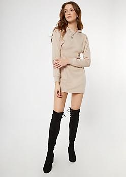 Nude Corset Hoodie Dress