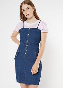 Dark Wash Button Down Pocket Fitted Jean Dress