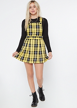 Yellow Plaid Pleated Mini Skirtall Dress