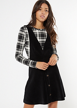 Black Corduroy Deep V Pinafore Dress