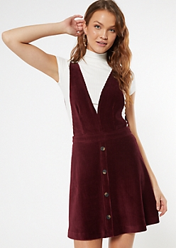 Burgundy Corduroy Deep V Pinafore Dress