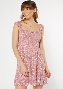 Dusty Pink Cheetah Print Smocked Flutter Sleeve Dress