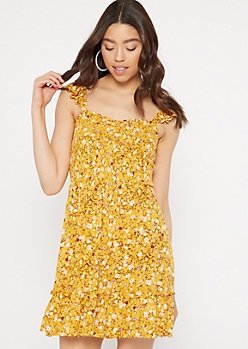 Mustard Floral Print Smocked Flutter Sleeve Dress