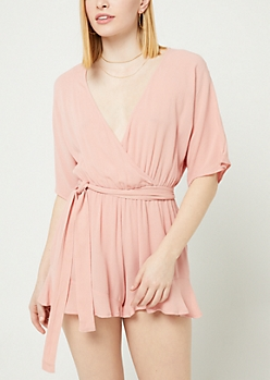 Pink Lattice Back Belted Romper
