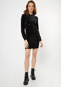 Black Velour Lace Up Side Hoodie Dress