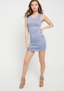 Light Blue Sleeveless Ruched Mini Dress
