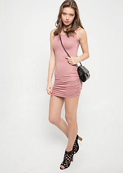 Medium Pink Sleeveless Ruched Mini Dress