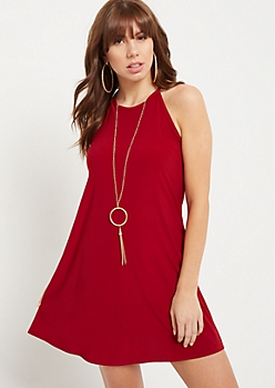 Burgundy High Neck Necklace Swing Dress