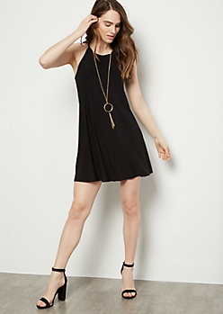 Black High Neck Super Soft Necklace Dress