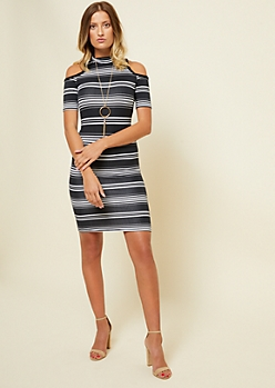 Black Striped Pattern Cold Shoulder Mock Neck Dress