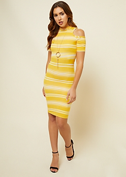 Yellow Striped Pattern Cold Shoulder Mock Neck Dress