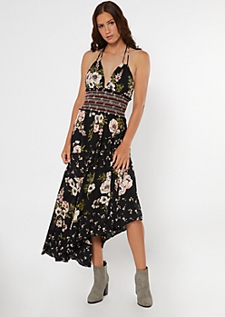 Floral Mixed Print Smocked Waist Midi Dress