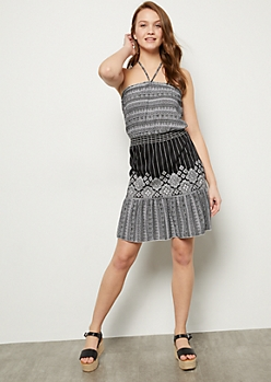 Black Colorblock Border Print Halter Dress
