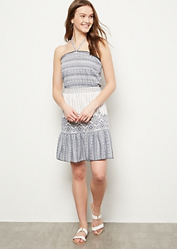 Navy Colorblock Border Print Halter Dress