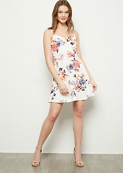 Ivory Floral Print Structured Skater Dress