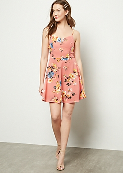 Coral Floral Print Structured Skater Dress