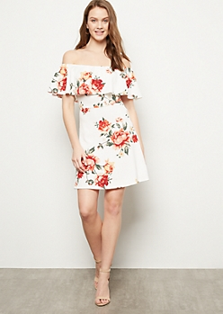 Ivory Floral Print Off The Shoulder Skater Dress